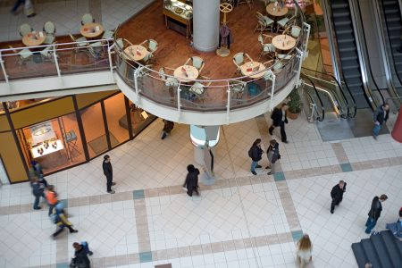 Multilevel Shopping Mall With Pedestrians